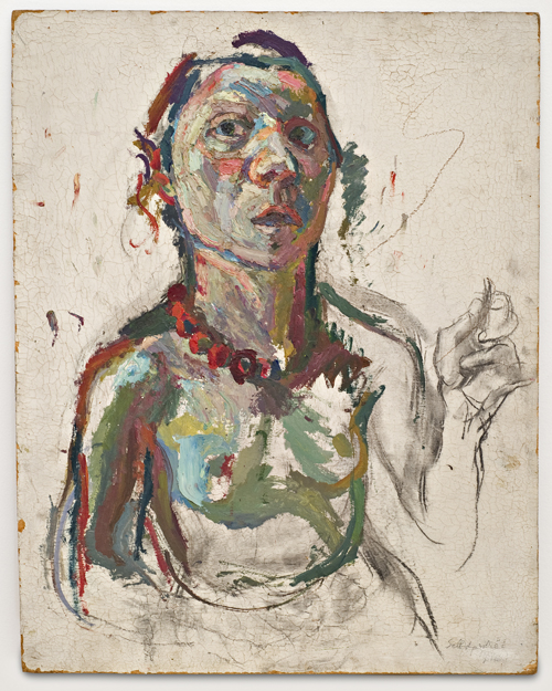 in Pictures for Maria Lassnig at MoMA PS1. Image for Maria Lassnig, Selbstporträt expressiv, 1945, Oil, charcoal on fiberboard, 60 x 48 cm. Courtesy the artist.