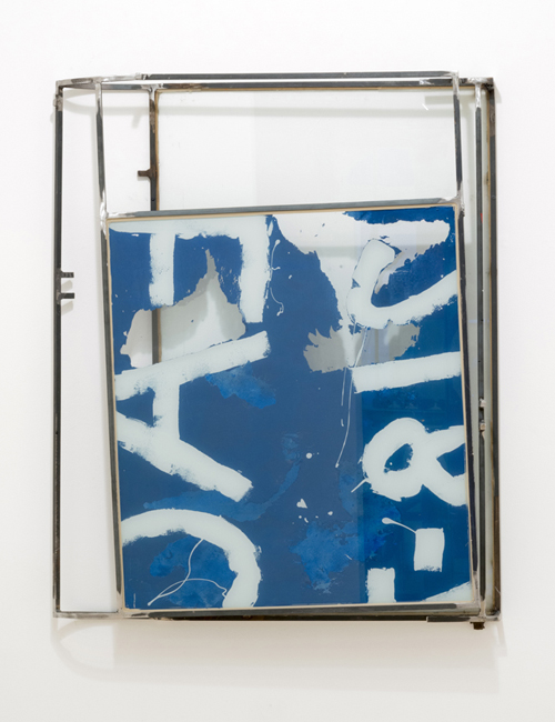 in Pictures for Rob Fischer at Derek Eller Gallery. Image for Rob Fischer, Blue Luggage, 2014, glass, steel, screenprint ink, acrylic and latex paint, construction adhesive, 46.5 x 38 x 6.25 inches. Courtesy of Derek Eller Gallery.
