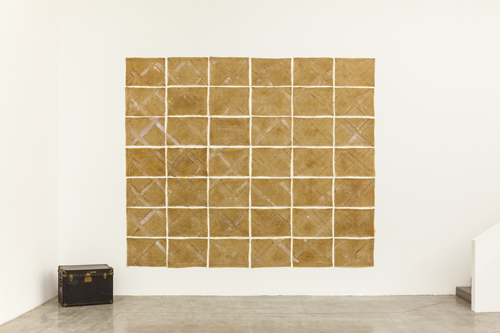 in Pictures for Heidi Bucher at Swiss Institute / CONTEMPORARY ART. Image for Heidi Bucher, Parquet floor of study in Winterthur-Wüflingen, 1979, Latex, cotton, trunk, Dimensions approx. 56 x 75 x 75 cm (22 x 29 ½ x 29 ½ in). Courtesy Freymond-Guth Fine Arts, Zürich.