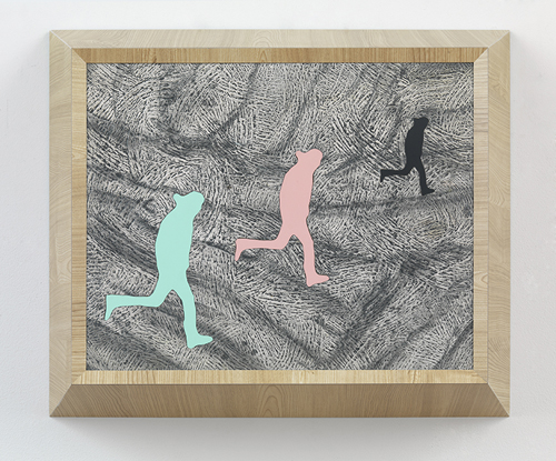 in Pictures for 'Loveless' at Greene Naftali Gallery. Image for Richard Artschwager, Running Man (triple) , 2013, Laminate, acrylic on Celotex in artist's frame, 21 1/4 x 25 1/2 x 8 inches (54 x 64.8 x 20.3 cm). Courtesy of the artist and Greene Naftali, New York.