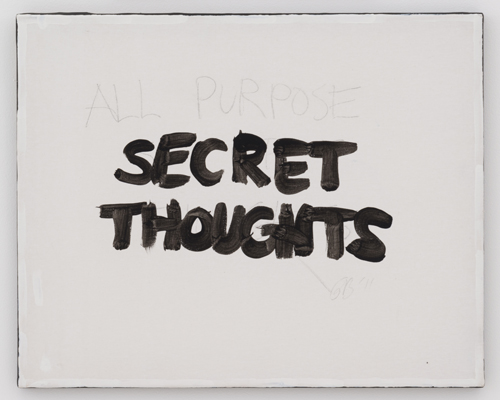 in Pictures for 'Particular Pictures' at The Suzanne Geiss Company. Image for Gene Beery, Untitled (Secret Thoughts), 2007, Acrylic on prepared canvas, 20 x 16 inches (50.8 x 40.6 cm). Photo Adam Reich. Courtesy The Suzanne Geiss Company.