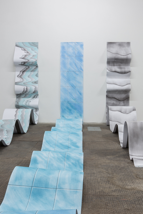 "in Pictures for PASTE at Signal. Image for Meriem Bennani, Slides #1, #2, #3, 2014, Powdered-pastels, charcoal, graphite and eraser on paper, Dimensions Variable (Drawing 24"" x 30' when outstretched). Photo by Dan McMahon. Courtesy of Signal."