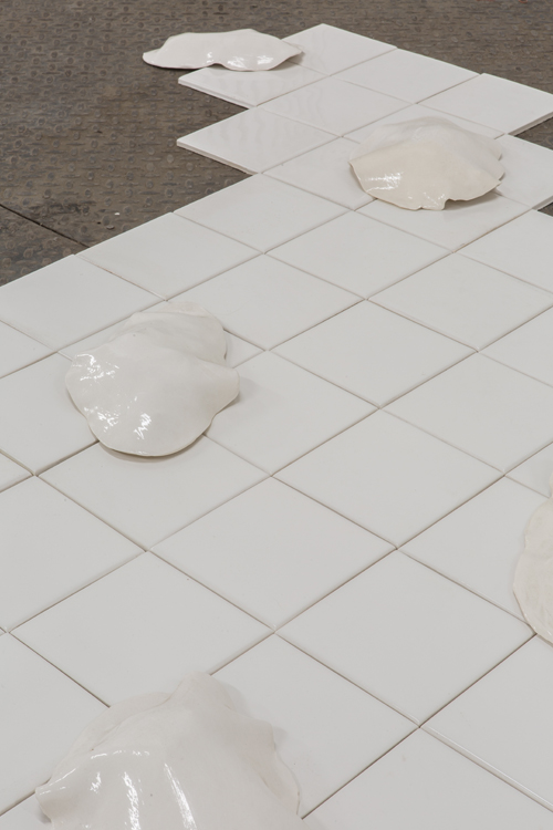 "in Pictures for PASTE at Signal. Image for Hayden Dunham, Detail of Drift Devices, 2014, Porcelain on ceramic tile, 102"" x 60"" x 4"". Photo by Dan McMahon. Courtesy of Signal."