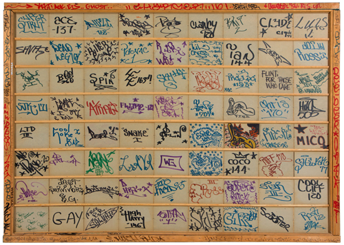 "in Pictures for City as Canvas at The Museum of the City of New York. Image for Various Artists, Wicked Gary's Tag Collection, 1970-72, ink on cardboard, framed, 49 ½ x 70"". Courtesy of the Museum of the City of New York. This large work showcases ink-drawn ""tags,"" or signatures used by more than 64 graffiti artists. The work functions as a who's who of New York graffiti writers, and includes tags by the movement's pioneers such as PHASE II, COCO 144, and SNAKE I (Eddie Rodriguez)."