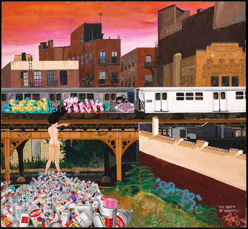 "in Pictures for City as Canvas at The Museum of the City of New York. Image for The Death of Graffiti by LADY PINK, 1982, acrylic on masonite, 19 x 22"". Courtesy of the Museum of the City of New York."