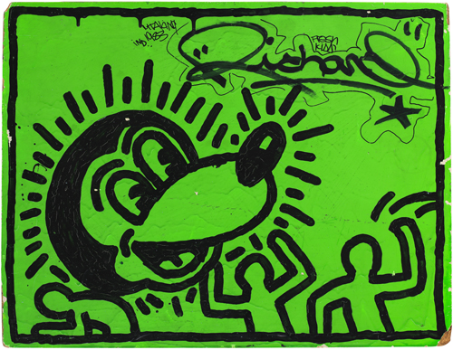 "in Pictures for City as Canvas at The Museum of the City of New York. Image for Untitled by Keith Haring, 1982, acrylic and ink on wood, 18 x 24"". © Keith Haring Foundation."