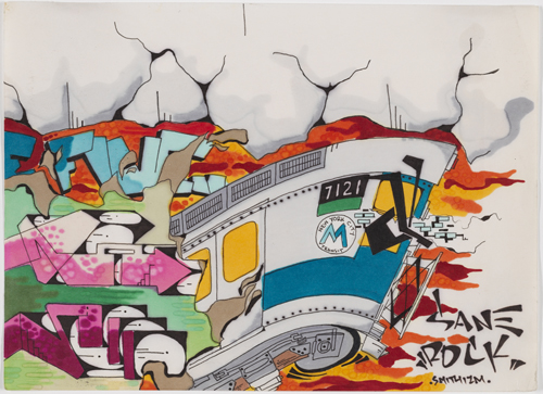 "in Pictures for City as Canvas at The Museum of the City of New York. Image for Untitled by Sane Smith, 1989, ink on paper, 8 x 11"". Courtesy of the Museum of the City of New York."