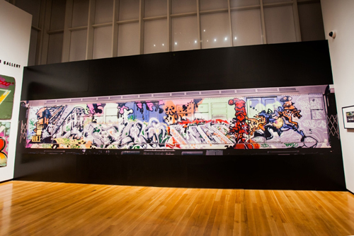 in Pictures for City as Canvas at The Museum of the City of New York. Image for Large photograph of a subway car covered in graffiti taken by Henry Chalfant. Image by Liz Ligon. Courtesy of the Museum of the City of New York.