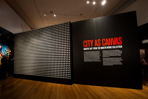 in Pictures for City as Canvas at The Museum of the City of New York. Image for Aerosol spray can wall display in the City as Canvas exhibition. Image by Liz Ligon. Courtesy of the Museum of the City of New York.