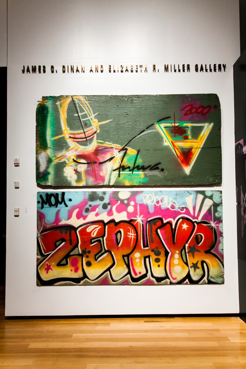 in Pictures for City as Canvas at The Museum of the City of New York. Image for Spray paint on plywood artworks (top) by Futura 2000 and (bottom) by Zephyr. Image by Liz Ligon. Courtesy of the Museum of the City of New York.
