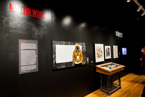 in Pictures for City as Canvas at The Museum of the City of New York. Image for Display of Martin Wong's work including sketches, and canvases he painted. Image by Liz Ligon. Courtesy of the Museum of the City of New York.