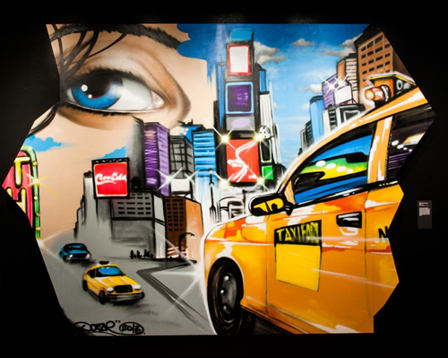 in Pictures for City as Canvas at The Museum of the City of New York. Image for Canvas spray painted by graffiti artist Daze at the Museum of the City of New York in the fall of 2013. Image by Liz Ligon. Courtesy of the Museum of the City of New York.