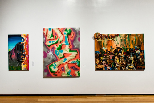 in Pictures for City as Canvas at The Museum of the City of New York. Image for Three acrylic paint on canvas works by graffiti artist Daze. From left to right:Transition, Untitled, and Hotel Amazon. Image by Liz Ligon. Courtesy of the Museum of the City of New York.