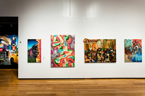in Pictures for City as Canvas at The Museum of the City of New York. Image for Three acrylic paint on canvas works by graffiti artist Daze. From left to right:Transition, Untitled, and Hotel Amazon. And a canvas titled We Love Ya, Rene by graffiti artist Kenny Sharf (far left). Image by Liz Ligon. Courtesy of the Museum of the City of New York.