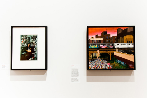 in Pictures for City as Canvas at The Museum of the City of New York. Image for A photograph of Lady Pink and a canvas by Lady Pink titled Death of Graffiti. Image by Liz Ligon. Courtesy of the Museum of the City of New York.