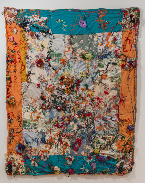 in Pictures for 'When the Stars Begin to Fall: Imagination and the American South' at The Studio Museum in Harlem. Image for Marie Roseman, Untitled (Throw), c. late 1960s, Yarn, sequins, thread, fabric, plastic beads, lame, pin cushion on quilt, 50 x 60in. Collection of Donald Roseman. Photo: Adam Reich