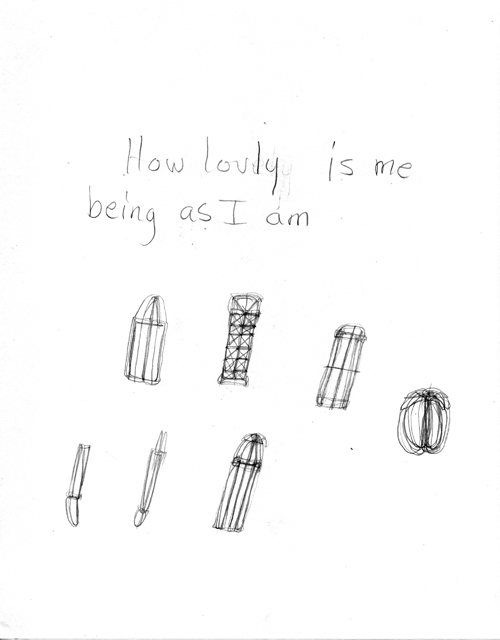 in Pictures for 'When the Stars Begin to Fall: Imagination and the American South' at The Studio Museum in Harlem. Image for Patricia Satterwhite, Untitled (How lovely is me being as I am), c. 2008, Graphite on paper, 11 x 8 1⁄2 in. Courtesy Jacolby and Patricia Satterwhite