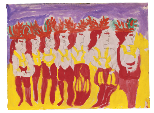 in Pictures for 'When the Stars Begin to Fall: Imagination and the American South' at The Studio Museum in Harlem. Image for Georgia Speller, Dancing People in a Line, 1986, Tempera and pencil on paper, 18 x 24 in. The William Arnett Collection of the Souls Grown Deep Foundation