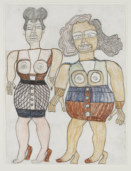 in Pictures for 'When the Stars Begin to Fall: Imagination and the American South' at The Studio Museum in Harlem. Image for Henry Speller, Two Ladies Dressed Up, 1986, Pencil, crayon and marker on paper, 24 × 18 in. Courtesy Ronald and June Shelp. Photo: Marc Bernier