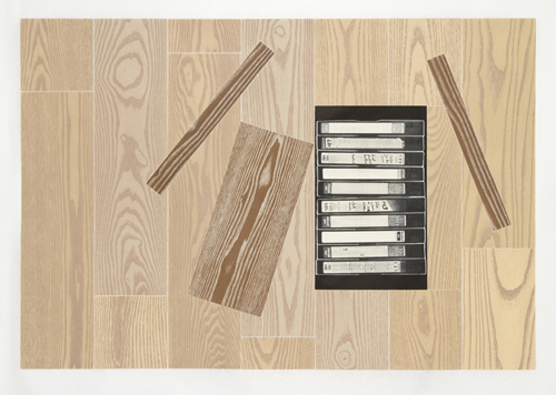 in Pictures for 'Thousand Year Old Child' at Planthouse. Image for Glen Baldridge, The Collection, 2013, Edition of 15, 23 block, 10 color woodcut with laser engraving on Thai Mulberry, 28 1/2 x 39 inches. Photo: David B. Smith. Courtesy of Planthouse.