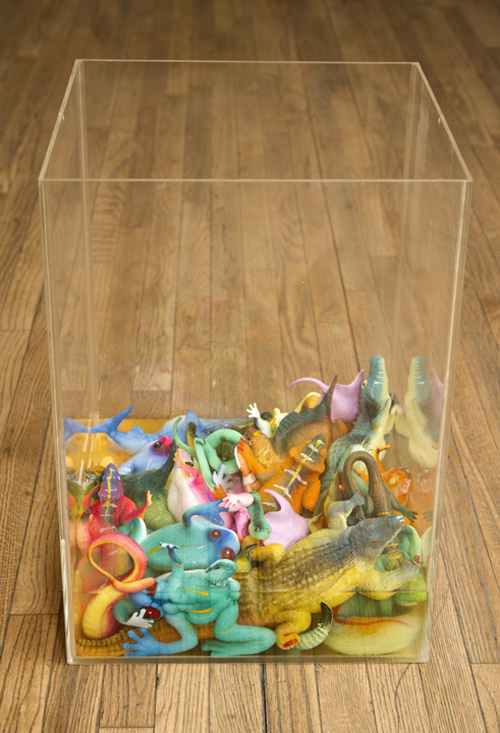 in Pictures for 'Thousand Year Old Child' at Planthouse. Image for Glen Baldridge, Aquarium, 2014, Plexiglas, plastic growing animals, slow leak, 22 x 16 x 16 inches. Photo: David B. Smith. Courtesy of Planthouse.