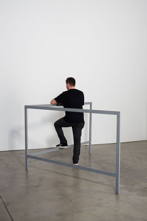 in Pictures for Michelangelo Pistoletto at Luhring Augustine Bushwick. Image for Michelangelo Pistoletto, Struttura per parlare in piedi (Structure for Talking while Standing), 1965 - 1966, Iron, 47 1/4 x 78 3/4 x 78 3/4 inches (120 x 200 x 200 cm). Courtesy of the artist, Luhring Augustine, New York, and Galleria Christian Stein, Milan.