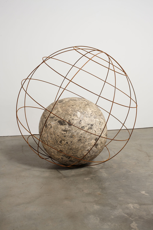 in Pictures for Michelangelo Pistoletto at Luhring Augustine Bushwick. Image for Michelangelo Pistoletto, Mappamondo (Globe), 1966 - 1968, Newspaper and wire  70 7/8 inches (180 cm). Courtesy of the artist, Luhring Augustine, New York, and Galleria Christian Stein, Milan.
