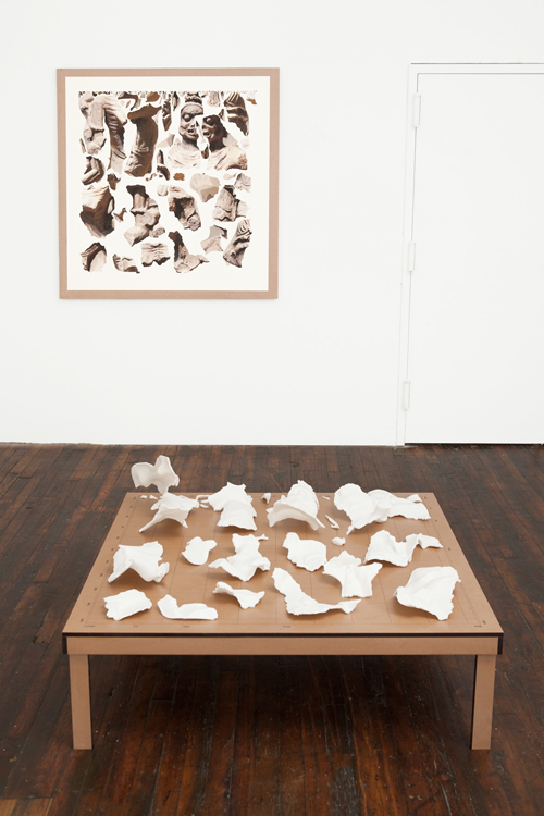 in Pictures for Clement Valla at TRANSFER. Image for Clement Valla, Surface Survey 1989.121 (Chamunda, the Horrific Destroyer of Evil), 2014, Inkjet on paper, 44 by 44 inches; Clement Valla, Surface Survey 1989.121 (Chamunda, the Horrific Destroyer of Evil), 2014, Sintered nylon, MDF, 48 by 48 by 20 inches. Photo by Mike Garten. Courtesy of the artist and TRANSFER.