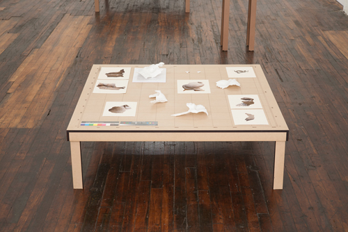 in Pictures for Clement Valla at TRANSFER. Image for Clement Valla, Surface Survey 74.51.2868 (Limestone recumbent lion), 2014, Sintered nylon, MDF, inkjet on paper, mixed, 48 by 48 by 16 inches. Photo by Mike Garten. Courtesy of the artist and TRANSFER.