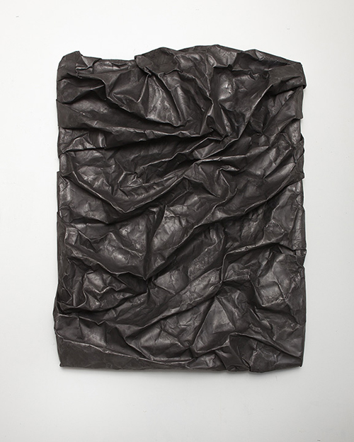 in Pictures for Lauren Seiden at Denny Gallery. Image for © Lauren Seiden, Black Raw Wrap 4, 2014. Graphite on paper. 46 x 36 x 8 in. Courtesy the artist and Denny Gallery, NYC.
