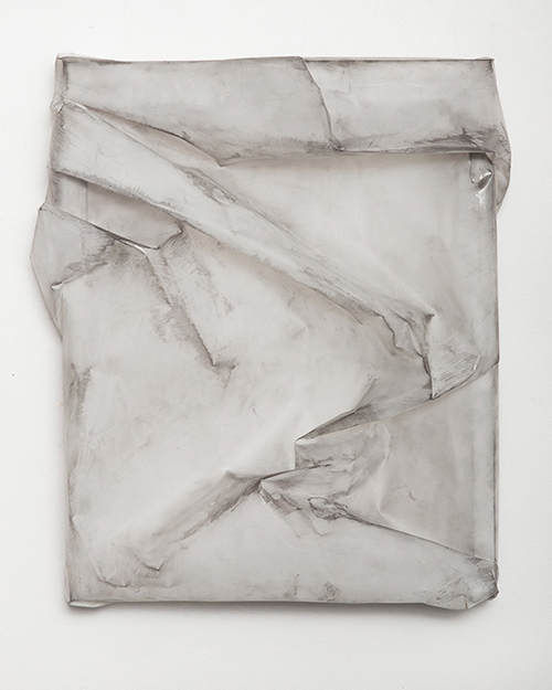 in Pictures for Lauren Seiden at Denny Gallery. Image for © Lauren Seiden, Mylar Wrap 4, 2014. Graphite on mylar. 19 x 17 x 4 in. Courtesy the artist and Denny Gallery, NYC.