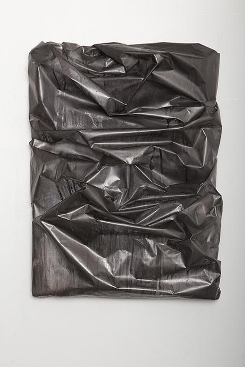in Pictures for Lauren Seiden at Denny Gallery. Image for © Lauren Seiden, Mylar Wrap 7, 2014. Graphite and aluminum on mylar. 31 x 24 x 7 in. Courtesy the artist and Denny Gallery, NYC.