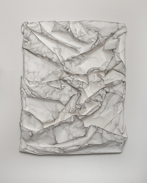 in Pictures for Lauren Seiden at Denny Gallery. Image for © Lauren Seiden, Raw Wrap 9, 2014. Graphite on paper. 45 x 37 x 7 in. Courtesy the artist and Denny Gallery, NYC.