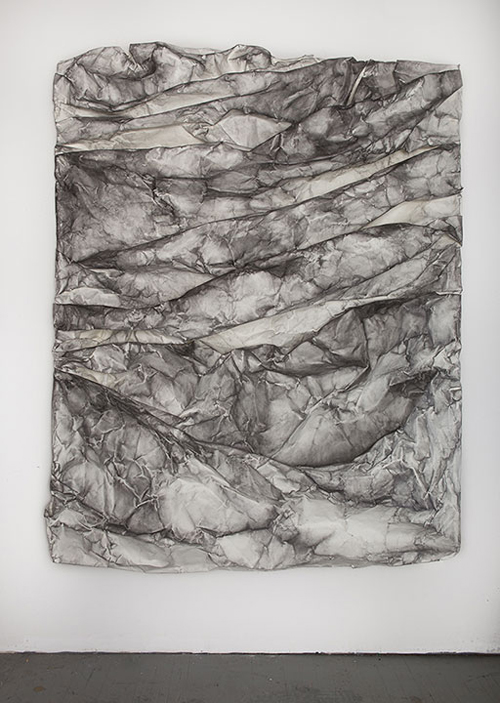in Pictures for Lauren Seiden at Denny Gallery. Image for © Lauren Seiden, Raw Wrap 10, 2014. Graphite on paper. 76 x 60 x 9 in. Courtesy the artist and Denny Gallery, NYC.