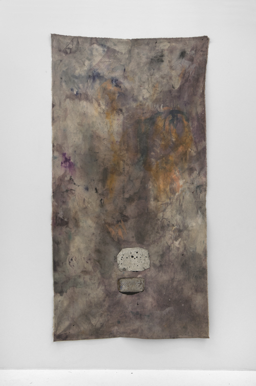 """in Pictures for Kristan Kennedy at Soloway. Image for Kristan Kennedy, W.R.D.R.M.R.N.G, 2013, Dye, Ink, Aluminum, Steel, Gesso on Canvas, W 42"""" x H 85"""". Courtesy the artist and Soloway."""