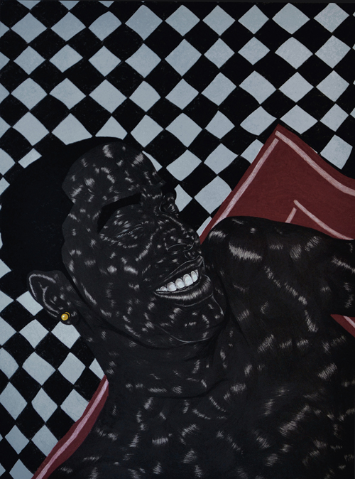 in Pictures for Toyin Odutola at Jack Shainman Gallery. Image for Toyin Odutola, LTS V, 2014, charcoal and pastel on paper, 40 x 30 inches (45 1/2 x 35 1/2 x 1 1/2 inches framed), signed, titled, and dated on verso. © Toyin Odutola. Courtesy of the artist and Jack Shainman Gallery, New York.