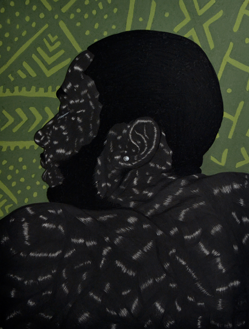 in Pictures for Toyin Odutola at Jack Shainman Gallery. Image for Toyin Odutola, LTS VI, 2014, charcoal, pastel, and conte on paper 40 x 30 inches, (45 1/2 x 35 1/2 x 1 1/2 inches framed), signed, titled, and dated on verso. © Toyin Odutola. Courtesy of the artist and Jack Shainman Gallery, New York.
