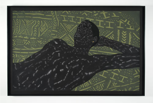 in Pictures for Toyin Odutola at Jack Shainman Gallery. Image for Toyin Odutola, LTS IV, 2014, charcoal, pastel, and marker on paper, 42 x 66 1/2 inches (46 3/4 x 70 3/4 x 1 1/2 inches framed), signed, titled, and dated on verso. © Toyin Odutola. Courtesy of the artist and Jack Shainman Gallery, New York.