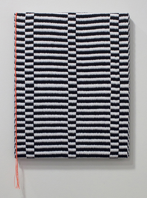 "in Pictures for Samantha Bittman at Greenpoint Terminal Gallery. Image for Samantha Bittman, Untitled, 2014, Handwoven textile (cotton and synthetic), 15"" x 12"". Courtesy Greenpoint Terminal Gallery."