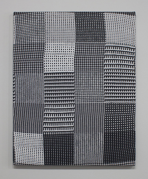 "in Pictures for Samantha Bittman at Greenpoint Terminal Gallery. Image for Samantha Bittman, Untitled, 2014, Acrylic on handwoven textile (cotton), 25"" x 20"". Courtesy Greenpoint Terminal Gallery."