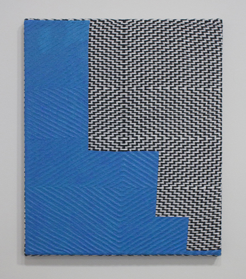"in Pictures for Samantha Bittman at Greenpoint Terminal Gallery. Image for Samantha Bittman, Untitled, 2014, Acrylic on handwoven textile (cotton), 18"" x 15"". Courtesy Greenpoint Terminal Gallery."