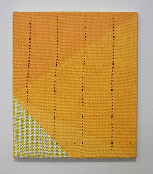 "in Pictures for Samantha Bittman at Greenpoint Terminal Gallery. Image for Samantha Bittman, Untitled, 2014, Acrylic on handwoven textile (cotton), 16"" x 14"". Courtesy Greenpoint Terminal Gallery."