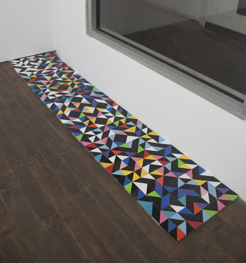 "in Pictures for Samantha Bittman at Greenpoint Terminal Gallery. Image for Samantha Bittman, Tile Sculpture, 2014, Hand-made tiles (MDF and spray paint), 79"" x 16"" x 1/2"". Courtesy Greenpoint Terminal Gallery."