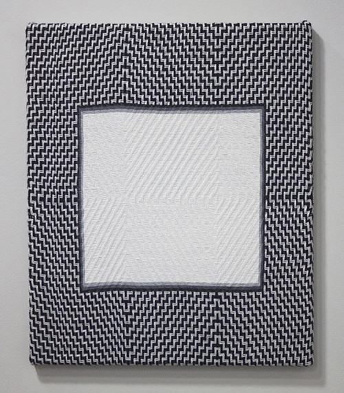 "in Pictures for Samantha Bittman at Greenpoint Terminal Gallery. Image for Samantha Bittman, Untitled, Acrylic on handwoven textile (cotton), 2014, 18"" x 15"". Courtesy Greenpoint Terminal Gallery."