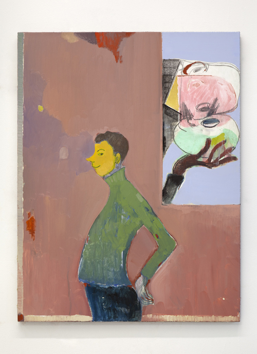 "in Pictures for Sanya Kantarovsky at Casey Kaplan. Image for Sanya Kantarovsky, Kolobok, 2014, Oil, watercolor, pastel and charcoal on linen, 34 x 26"" / 86.4 x 66cm. Photo: Dawn Blackman. Courtesy of the artist and Casey Kaplan, New York."