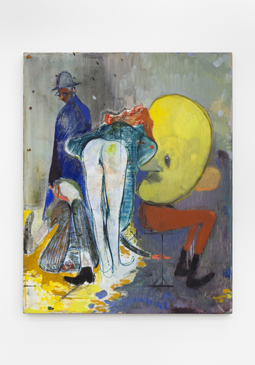 "in Pictures for Sanya Kantarovsky at Casey Kaplan. Image for Sanya Kantarovsky, Speaking His Language, 2014, Oil, watercolor, pastel and charcoal on linen, 30 x 24"" / 76.2 x 61cm. Photo: Dawn Blackman. Courtesy of the artist and Casey Kaplan, New York."