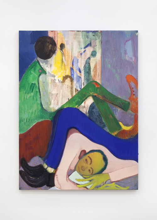 "in Pictures for Sanya Kantarovsky at Casey Kaplan. Image for Sanya Kantarovsky, How To Enjoy Being Alone, 2014, Oil, watercolor, pastel, oilstick on canvas, 47 x 35"" / 119.4 x 88.9cm. Photo: Dawn Blackman. Courtesy of the artist and Casey Kaplan, New York."