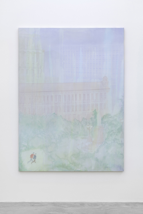 "in Pictures for Sanya Kantarovsky at Casey Kaplan. Image for Sanya Kantarovsky, Wet City (Pushkinskiy), 2014, Watercolor, bleach, gouache on canvas, 75 x 55"" / 190.5 x 139.7cm. Photo: Dawn Blackman. Courtesy of the artist and Casey Kaplan, New York."
