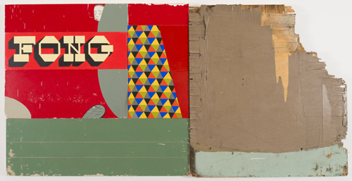 in Pictures for 'ENERGY THAT IS ALL AROUND' at Grey Art Gallery at NYU. Image for   Barry McGee, Untitled, c. 1990–2013, Paint on wood, 46 x 90 in. Courtesy the artist and Ratio 3, San Francisco.
