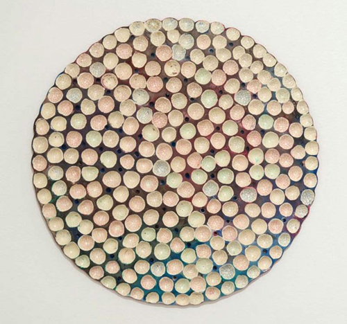 "in Pictures for Joyce Robins at Theodore:Art. Image for Joyce Robins, Blue Magenta Indented Circle, 2014, 10"" dia, clay, glaze, paint. Courtesy of Theodore:Art"